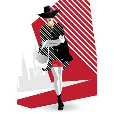 Siyah Şapkalı Genç Kadın Moda Duvar Kağıdı
